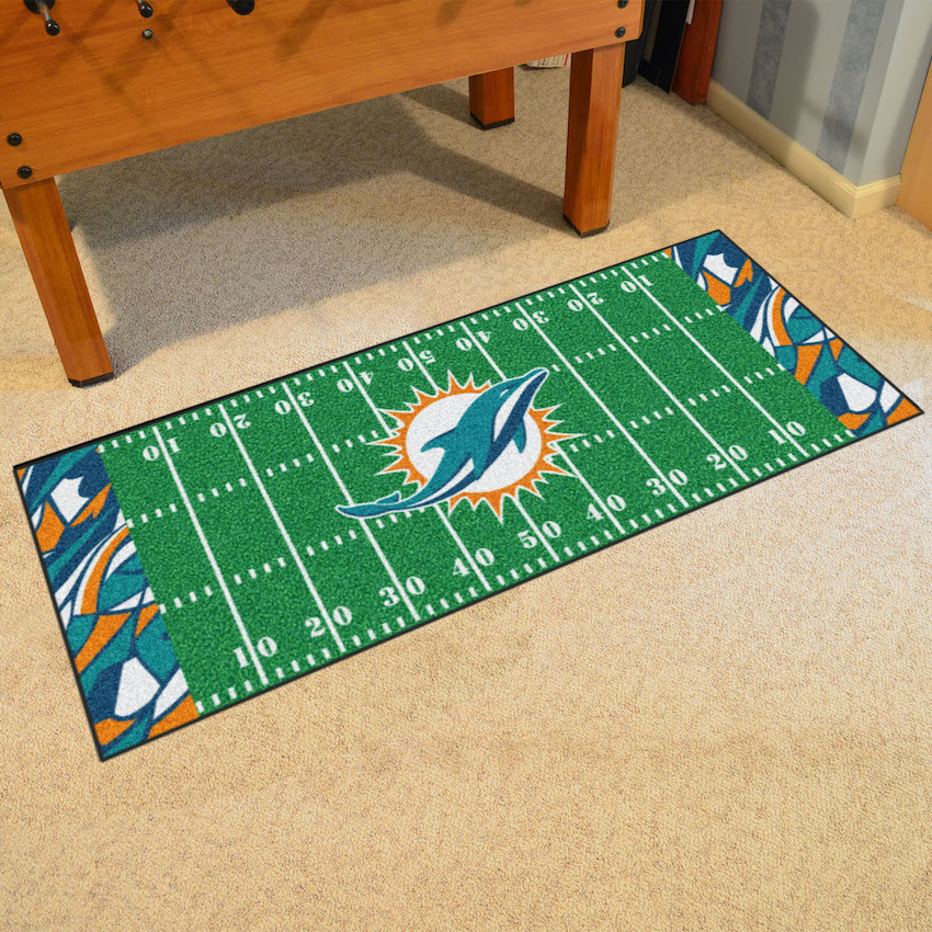 Miami Dolphins 30 X 72 Quick Snap Football Field Carpet