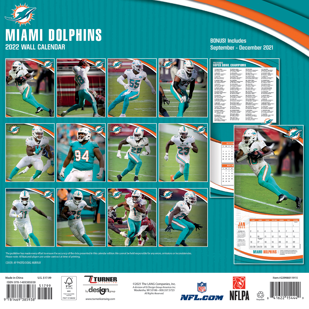 Miami Dolphins 2018 Nfl Wall Calendar Buy At Khc Sports