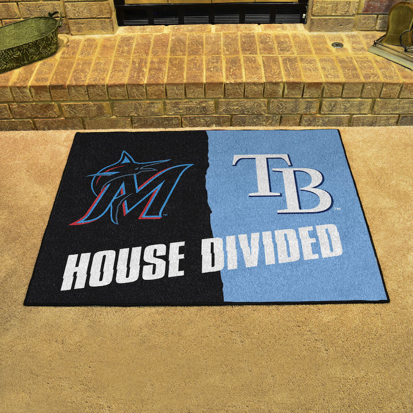 MLB House Divided Rivalry Rug Miami Marlins - Tampa Bay Rays