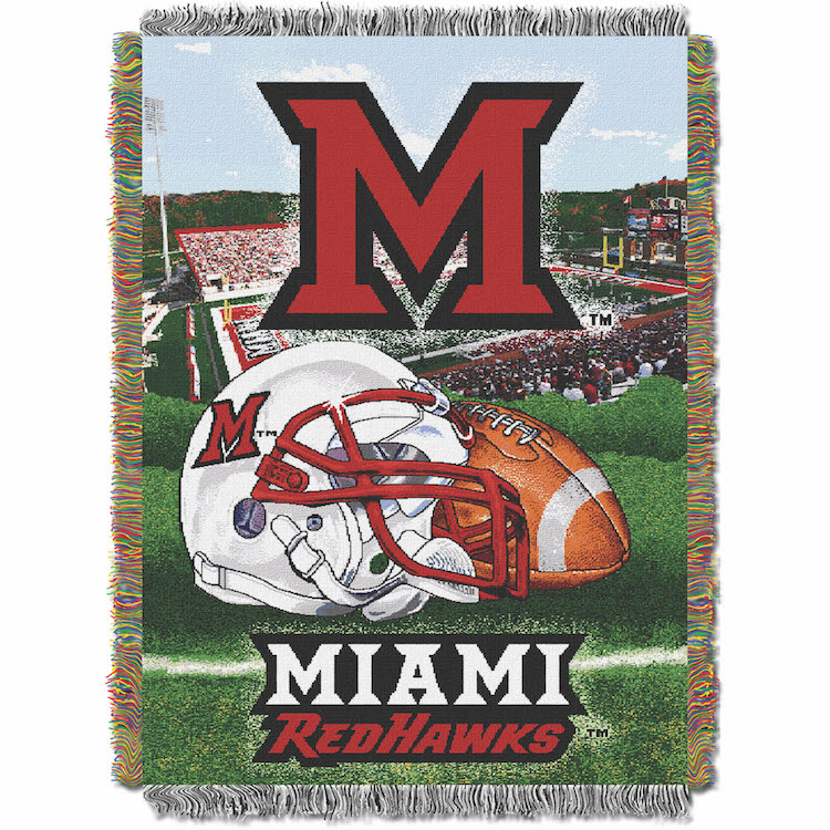 Miami of Ohio Red Hawks Home Field Advantage Series Tapestry Blanket 48 x 60