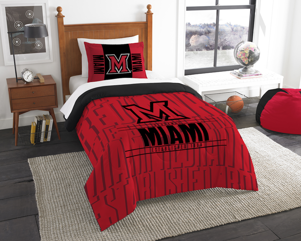 Miami of Ohio Red Hawks Twin Comforter Set with Sham