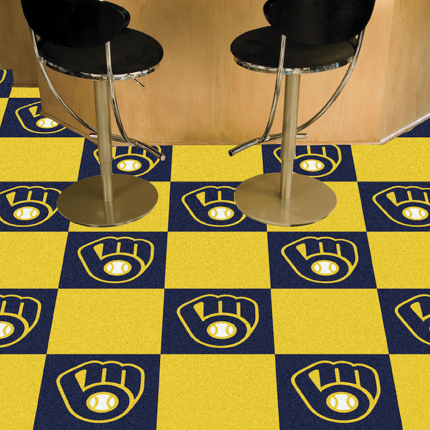 Milwaukee Brewers Carpet Tiles 18x18 in.