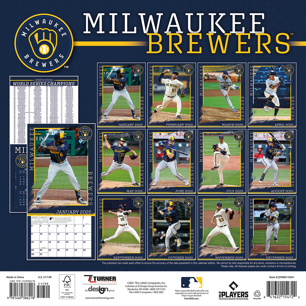 Milwaukee Brewers 2018 Wall Calendar Buy At Khc Sports