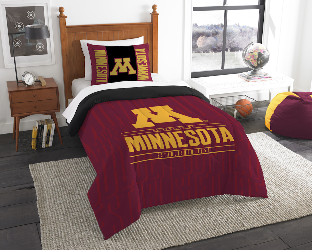 Minnesota Golden Gophers Twin Comforter Set with Sham