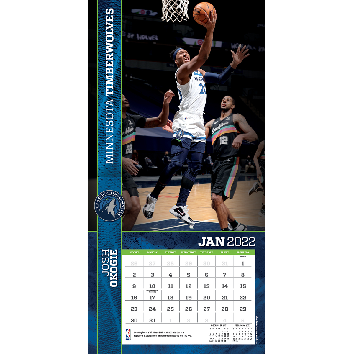 Minnesota Timberwolves 2018 Wall Calendar Buy At Khc Sports