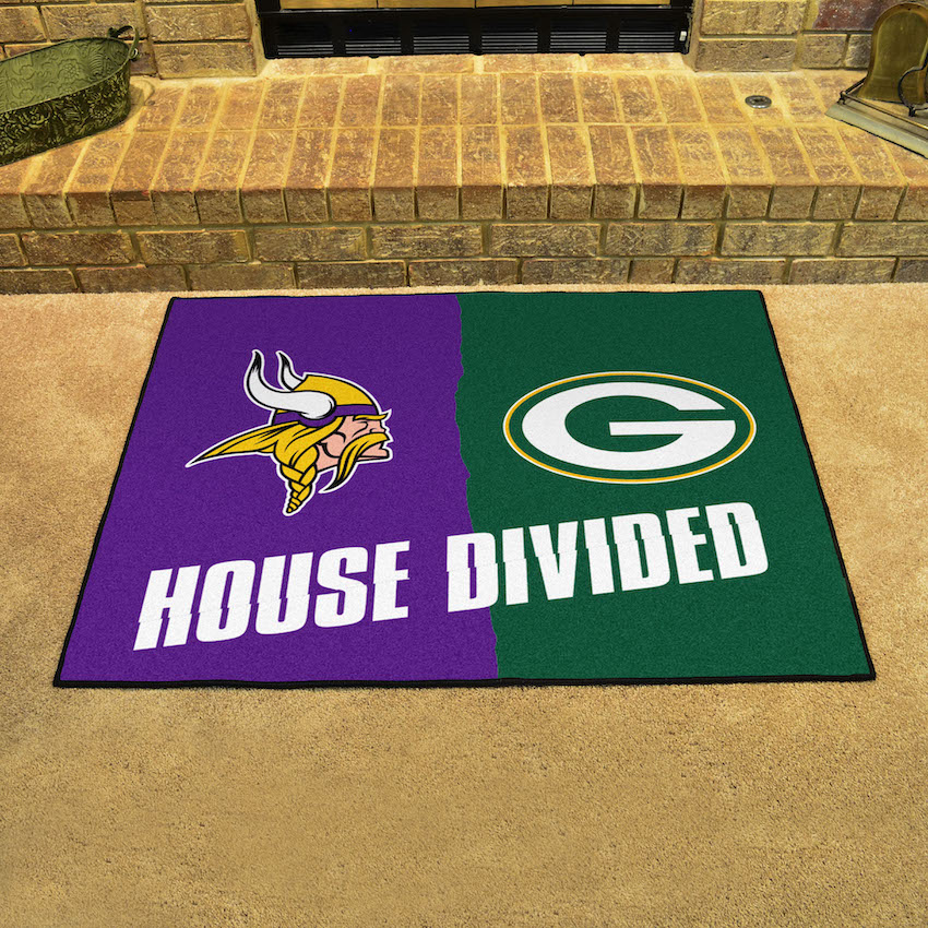 NFL House Divided Rivalry Rug Minnesota Vikings - Green Bay Packers
