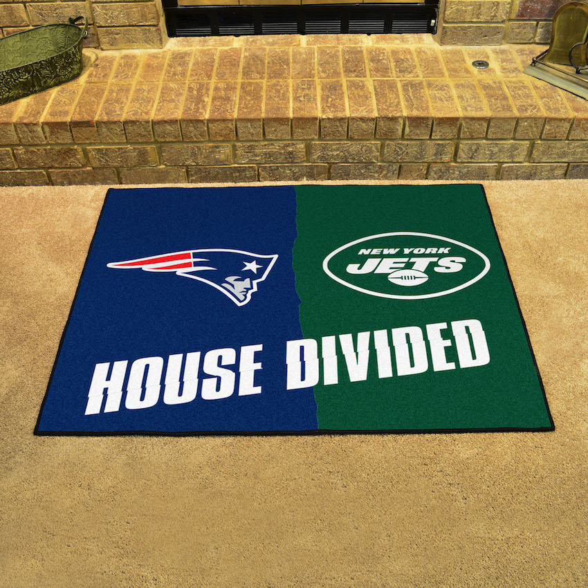 NFL House Divided Rivalry Rug New England Patriots - New York Jets