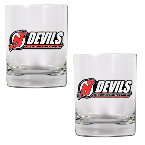 New Jersey Devils NHL Logo 2pc Rocks Glass Set