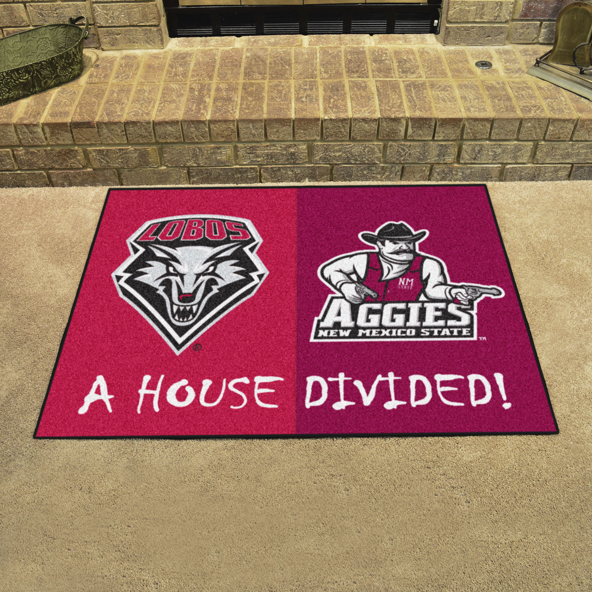 NCAA House Divided Rivalry Rug New Mexico Lobos - New Mexico State Aggies