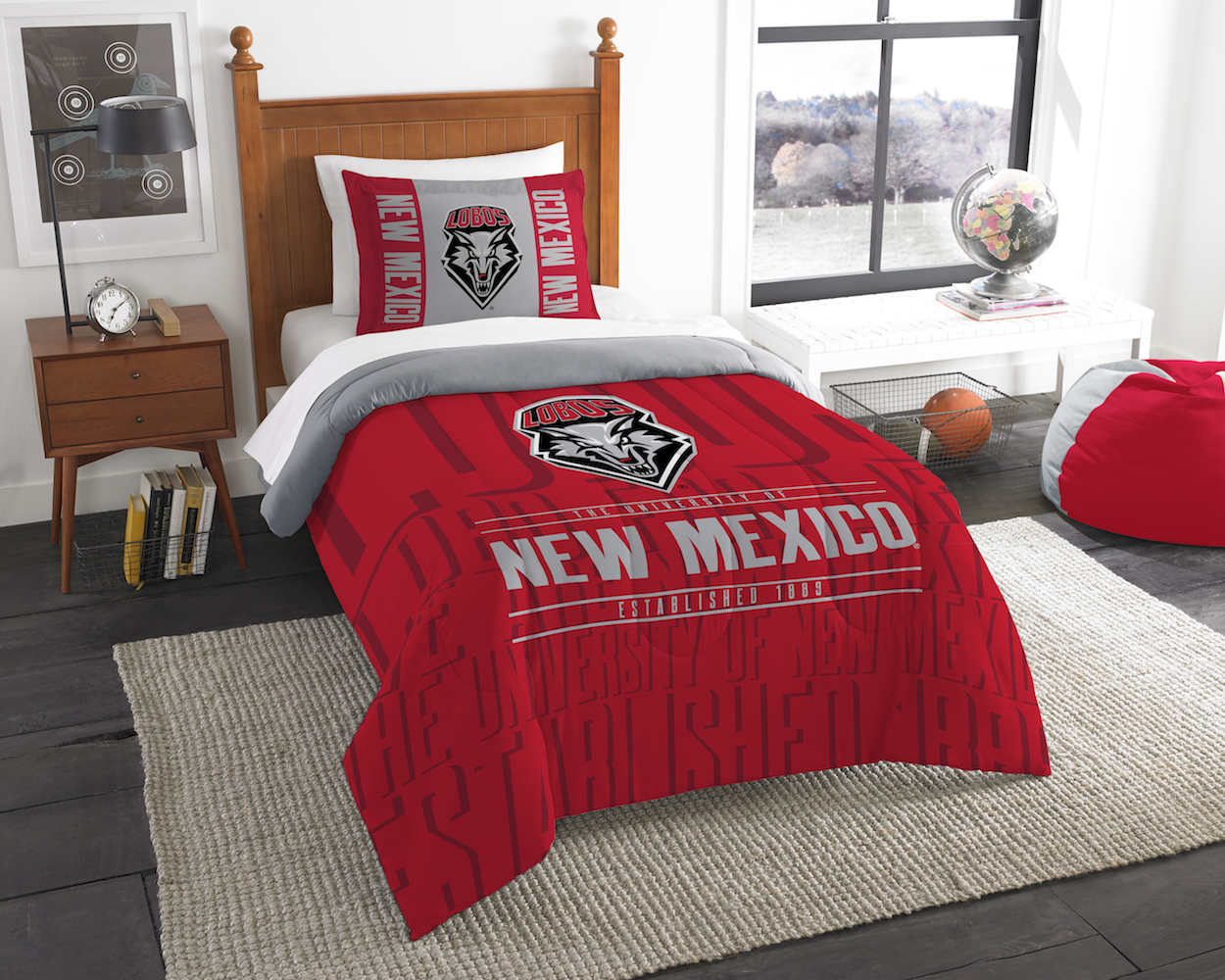 New Mexico Lobos Twin Comforter Set with Sham