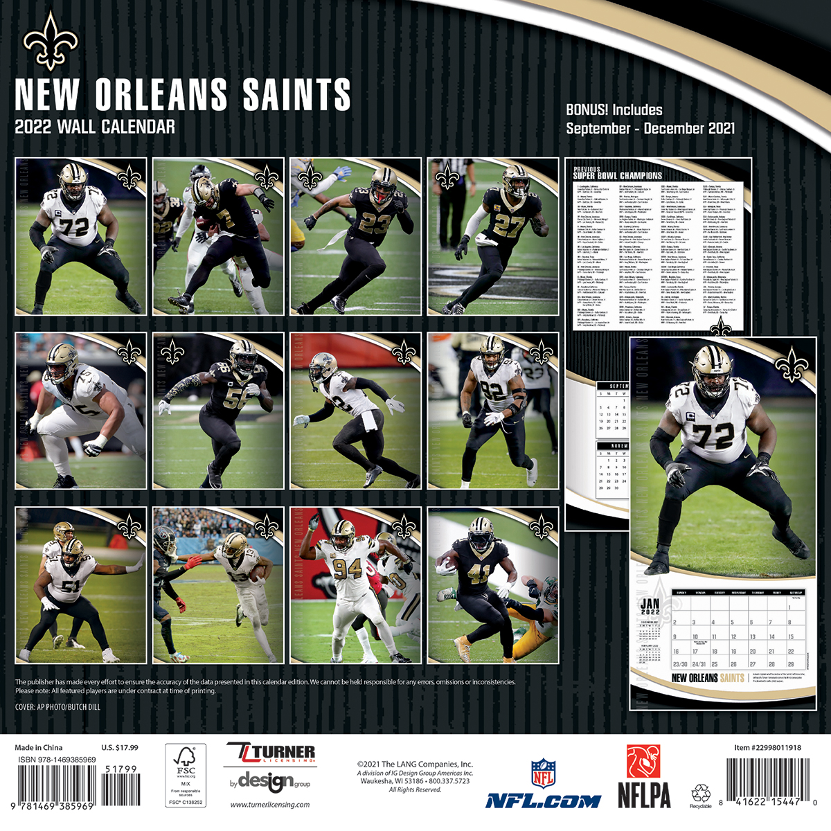 New Orleans Saints 2018 Nfl Wall Calendar Buy At Khc Sports