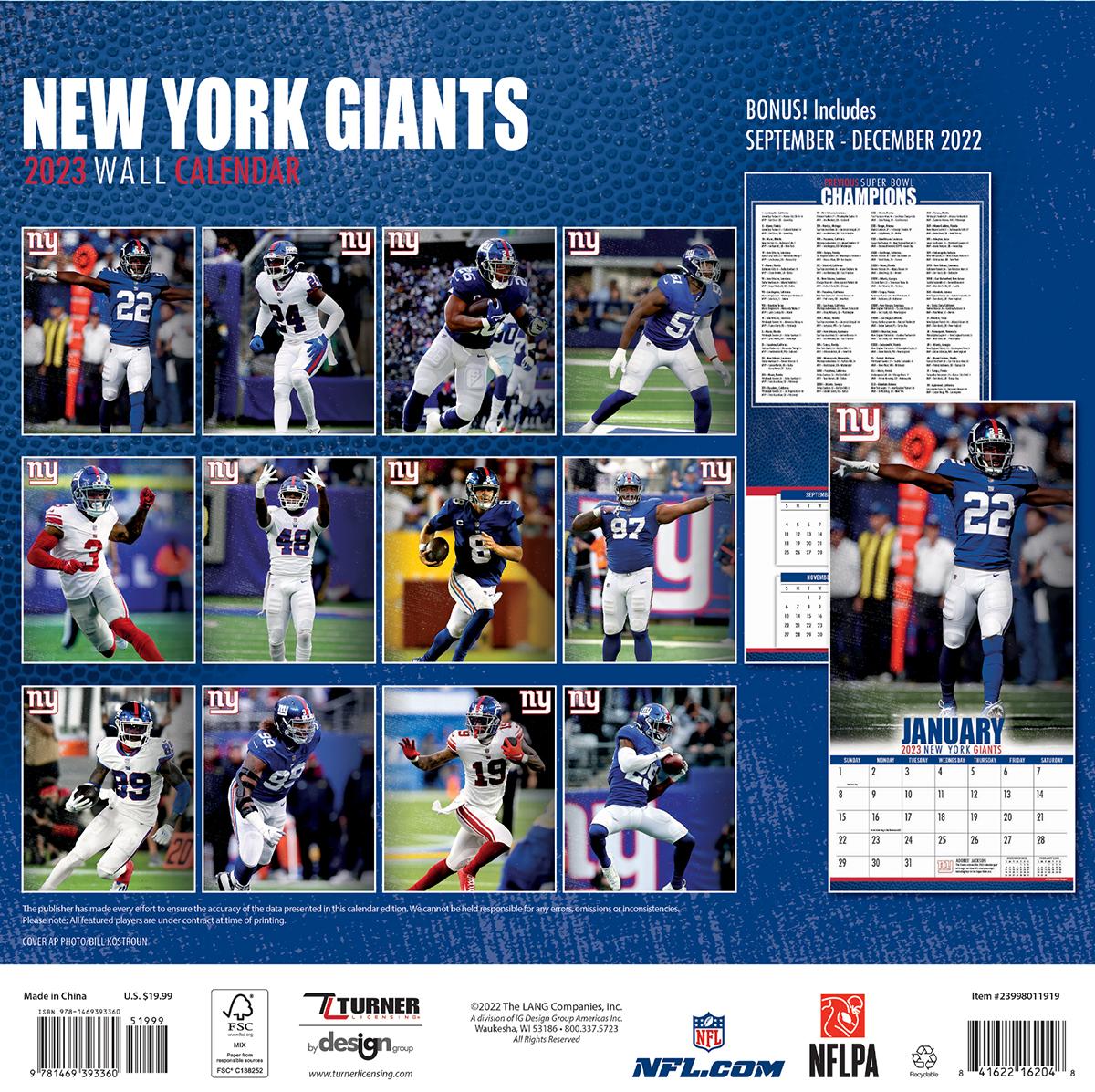 New York Giants 2019 Nfl Mini Wall Calendar Buy At Khc