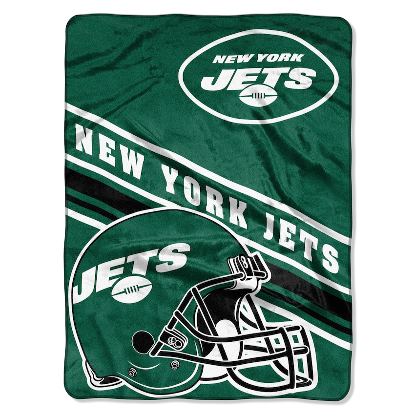 New York Jets Large Plush Fleece Raschel Blanket 60 x 80