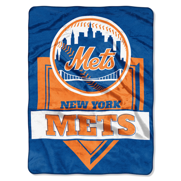 New York Mets Large Plush Fleece Raschel Blanket 60 x 80