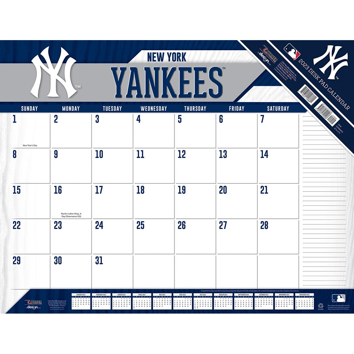 New York Yankees 2018 Mlb 22 X 17 Desk Calendar Buy At