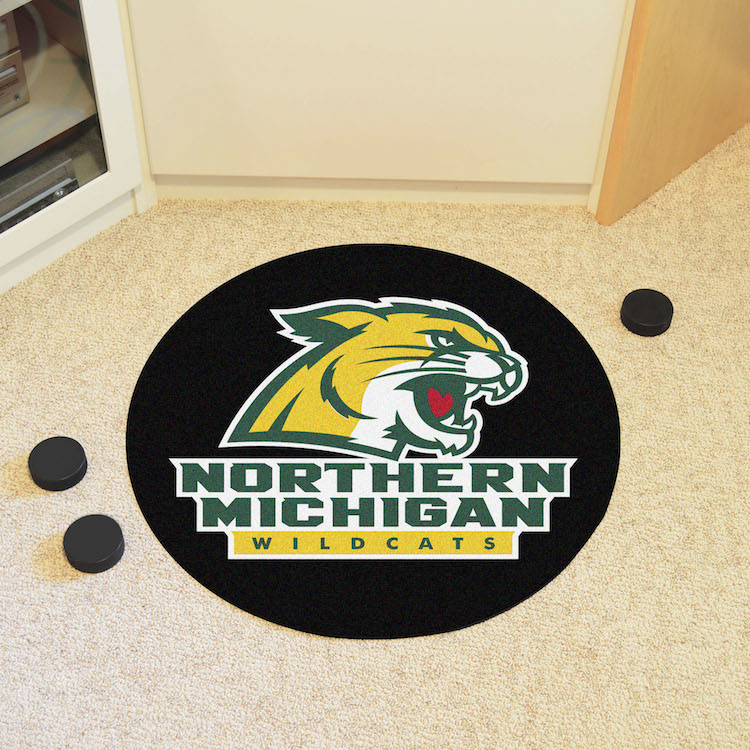 Northern Michigan Wildcats Round Hockey Puck Mat