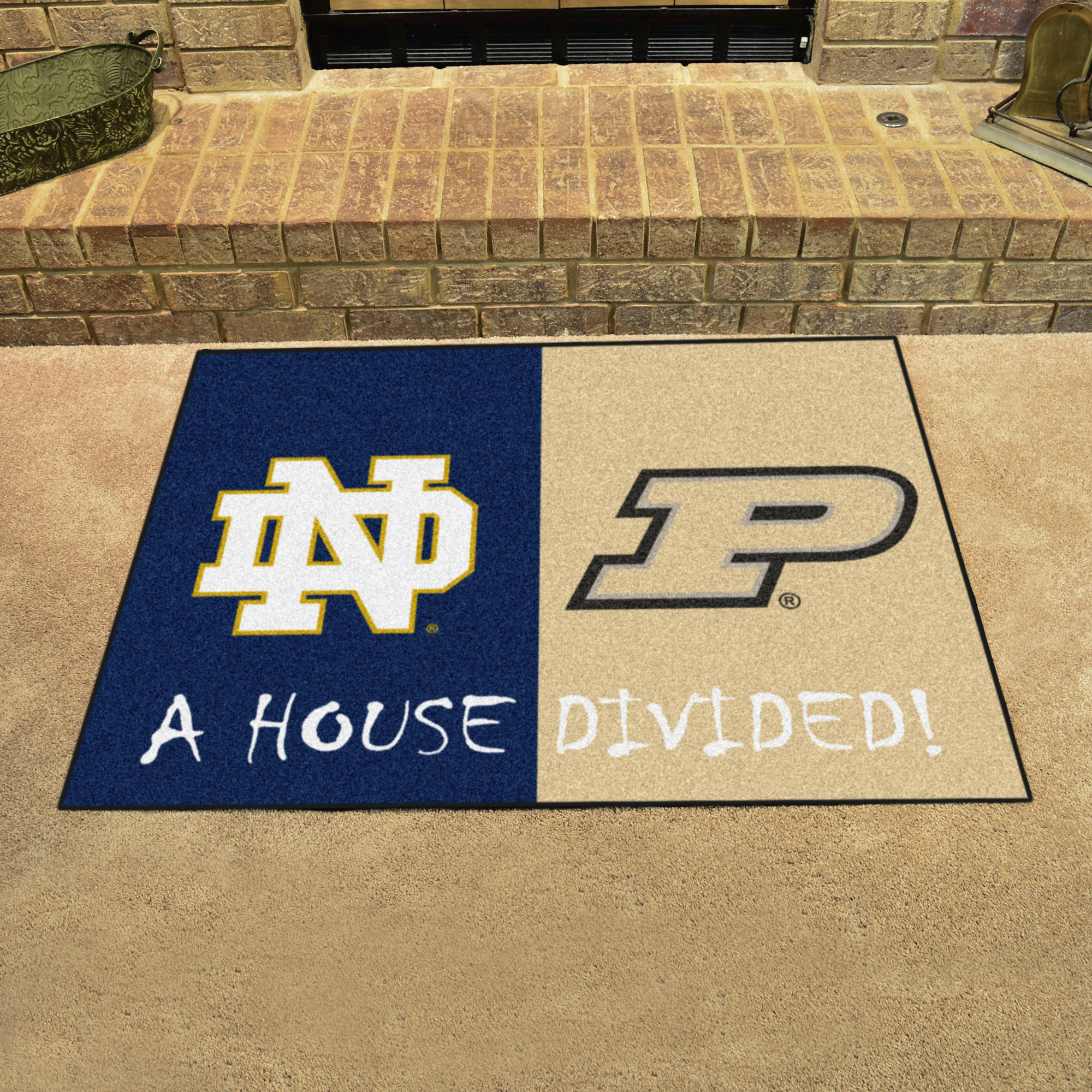 NCAA House Divided Rivalry Rug Notre Dame Fighting Irish - Purdue Boilermakers