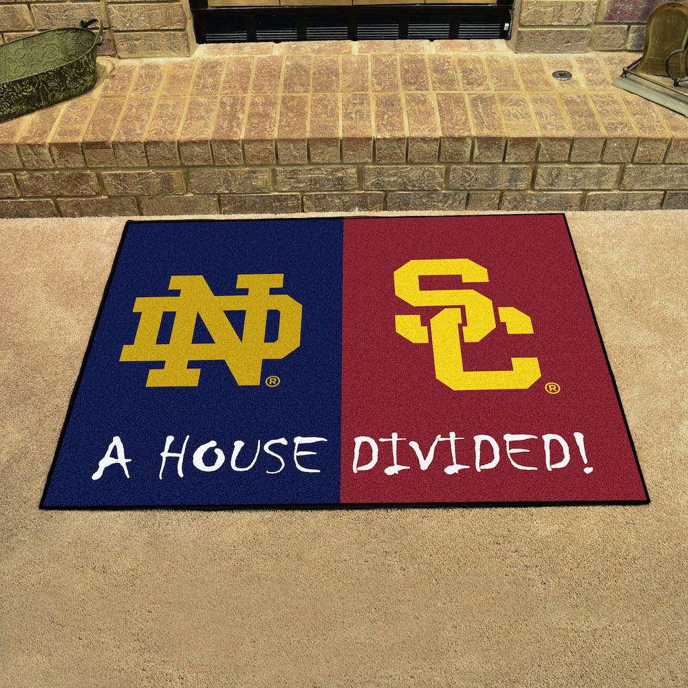 NCAA House Divided Rivalry Rug Notre Dame Fighting Irish - USC Trojans