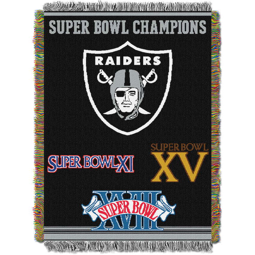 Oakland Raiders Commemorative Super Bowl Tapestry Throw