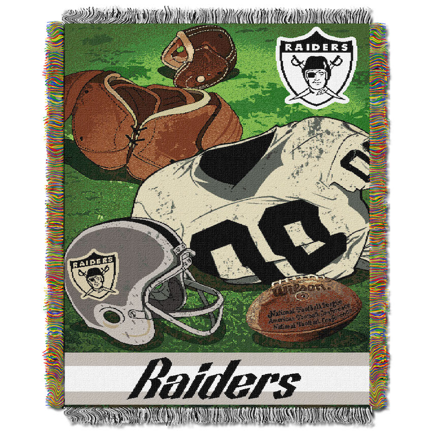 Oakland Raiders Commemorative VINTAGE Tapestry Throw