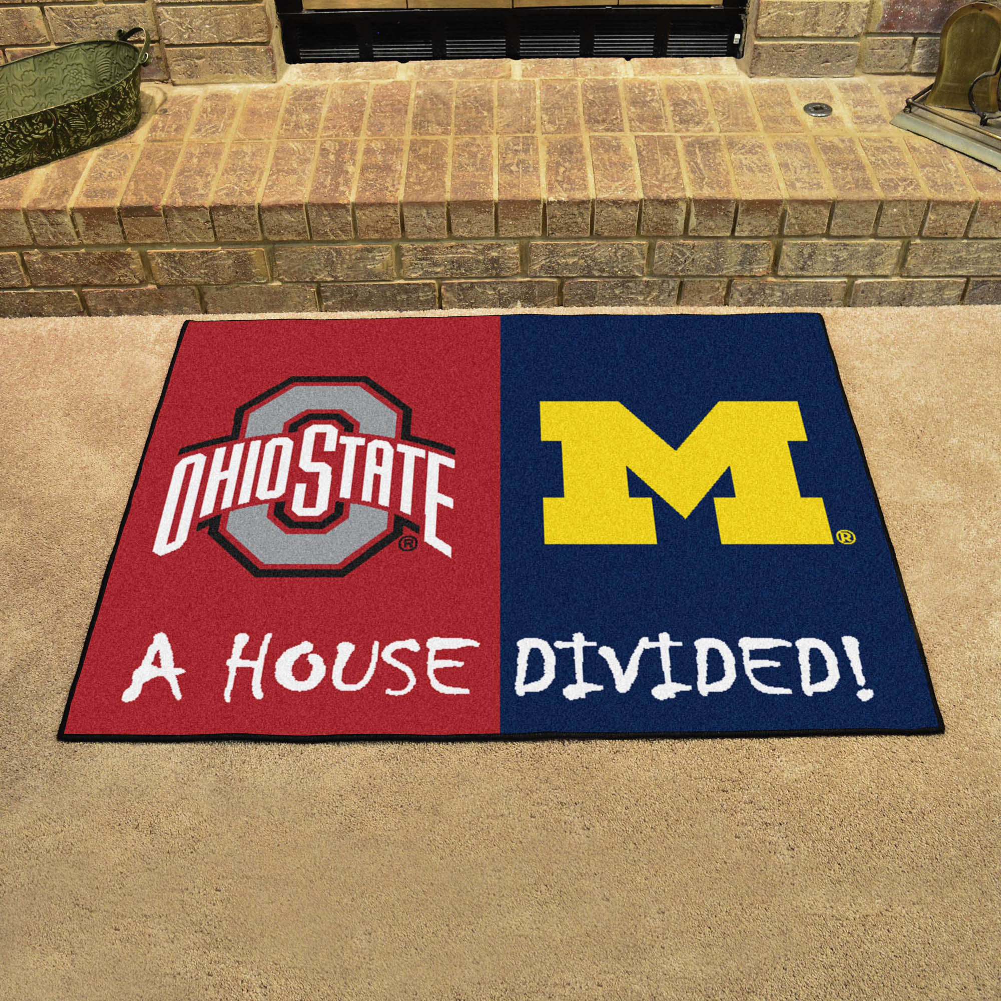Ncaa House Divided Rivalry Rug Ohio State Buckeyes