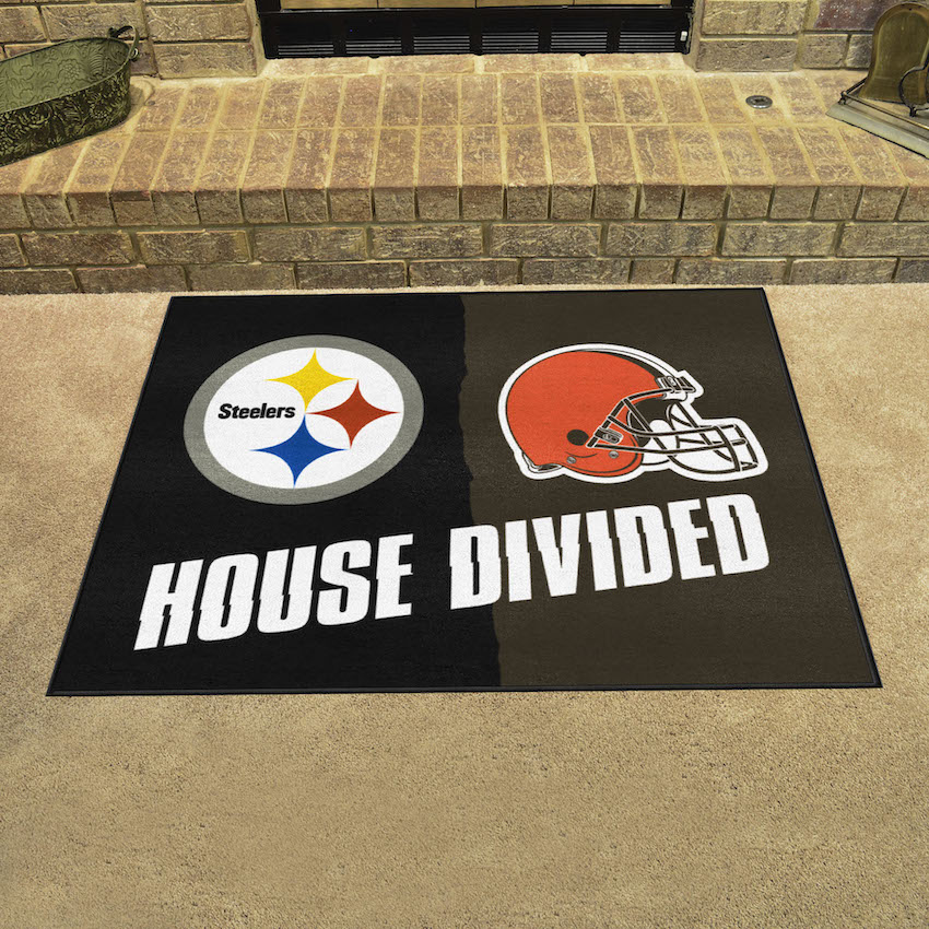 NFL House Divided Rivalry Rug Pittsburgh Steelers - Cleveland Browns