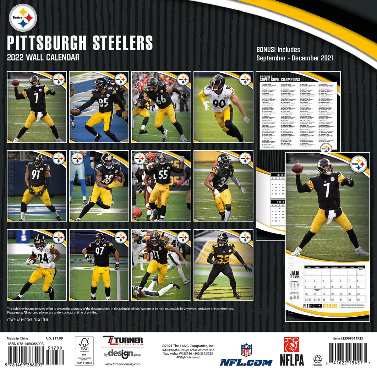 Pittsburgh Steelers 2019 Nfl Wall Calendar Buy At Khc Sports