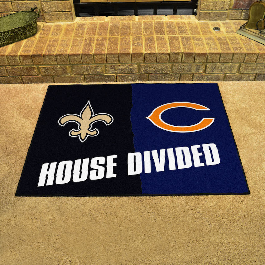 NFL House Divided Rivalry Rug New Orleans Saints - Chicago Bears