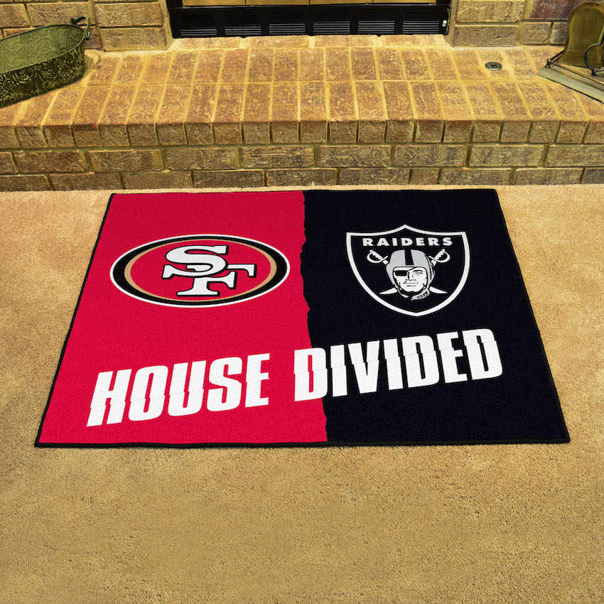 NFL House Divided Rivalry Rug San Francisco 49ers - Oakland Raiders