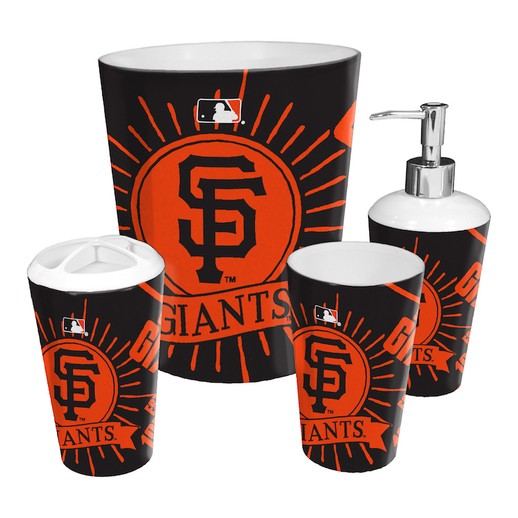 san francisco giants 4 piece bathroom accessory set buy at khc sports. Black Bedroom Furniture Sets. Home Design Ideas