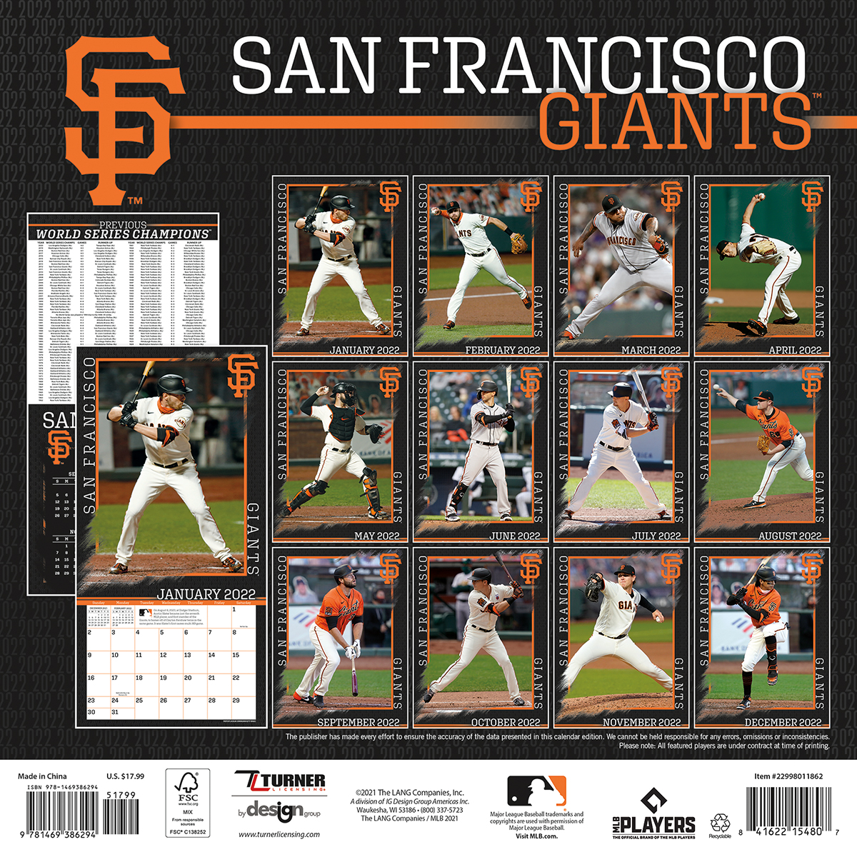 San Francisco Giants 2019 Wall Calendar Buy At Khc Sports