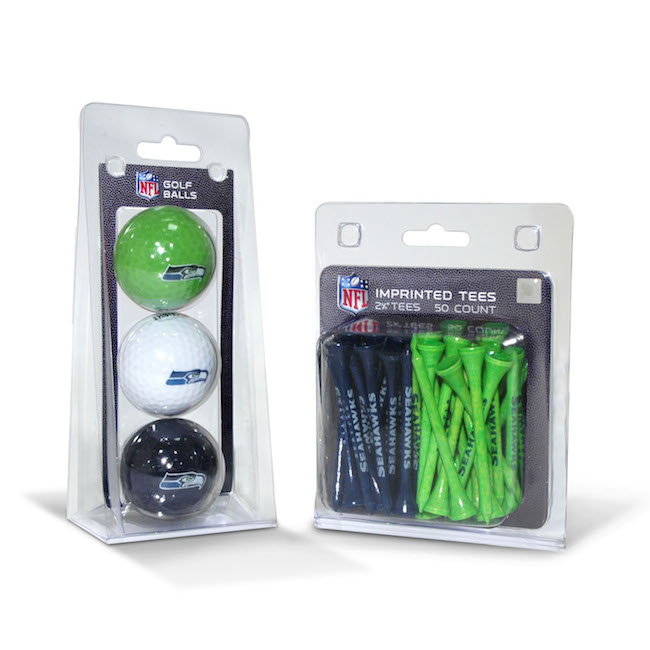 Seattle Seahawks 3 Ball Pack and 50 Tee Pack