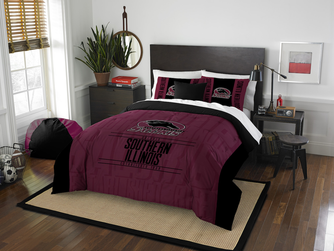 Southern Illinois Salukis QUEEN/FULL size Comforter and 2 Shams