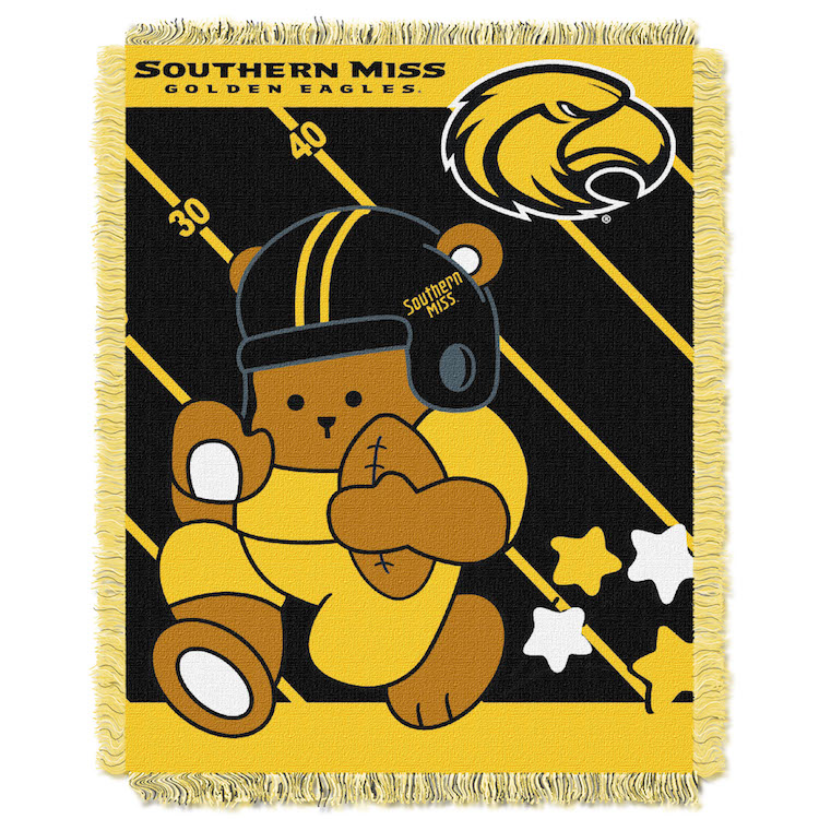Southern Mississippi Golden Eagles Woven Baby Blanket 36 x 48
