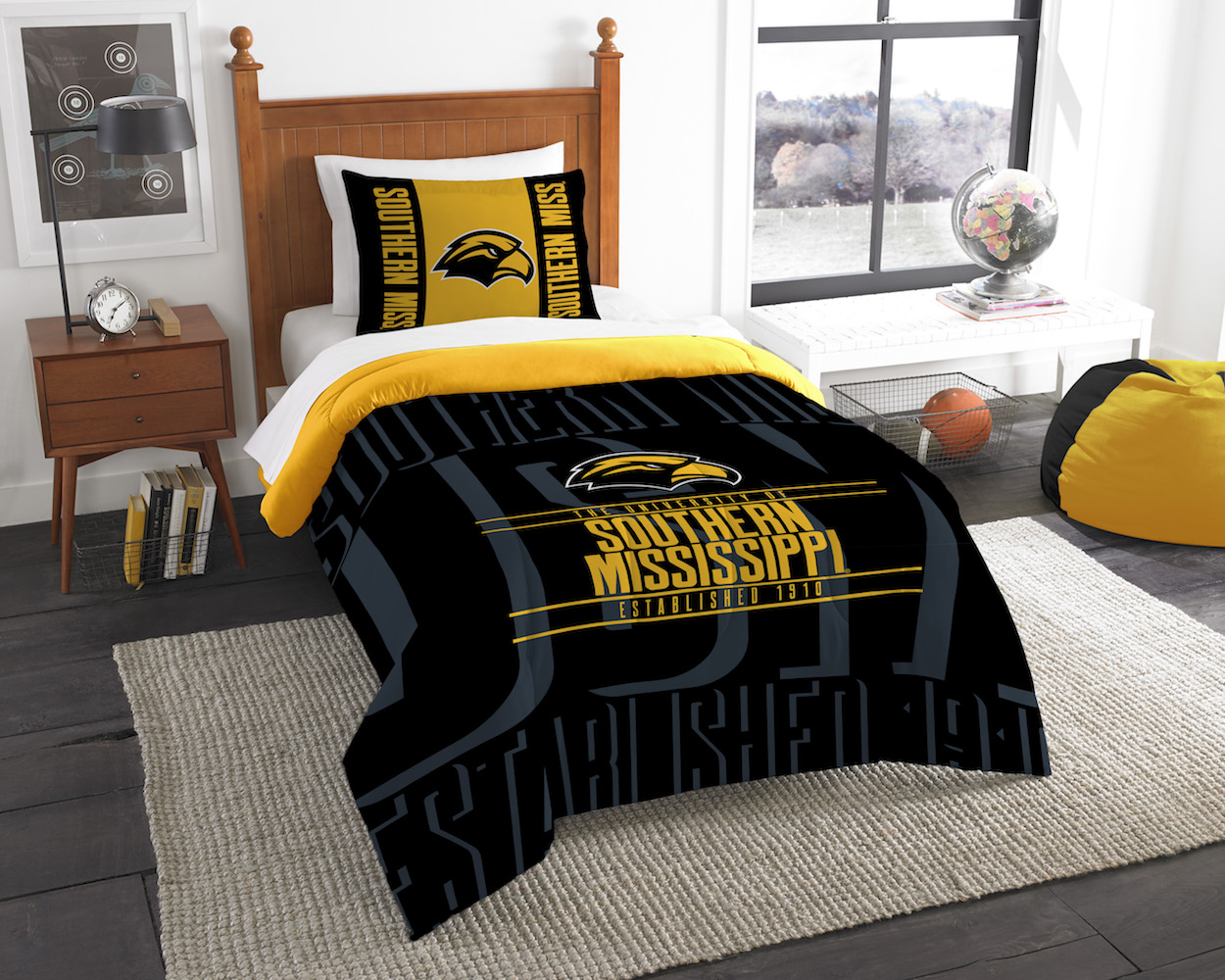 Southern Mississippi Golden Eagles Twin Comforter Set with Sham
