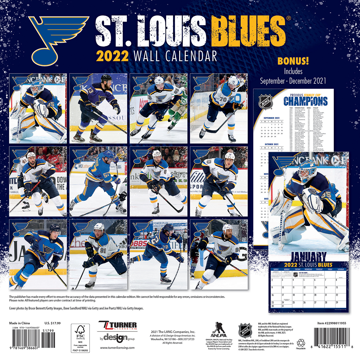 St Louis Blues 2018 Nhl Wall Calendar Buy At Khc Sports