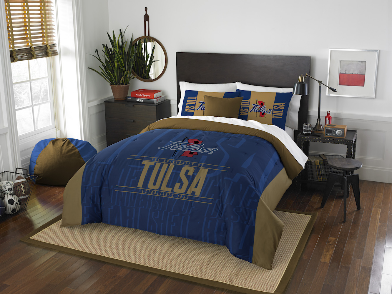 Tulsa Golden Hurricane QUEEN/FULL size Comforter and 2 Shams
