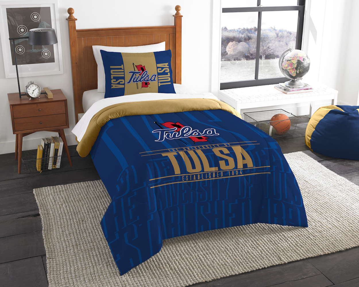 Tulsa Golden Hurricane Twin Comforter Set with Sham
