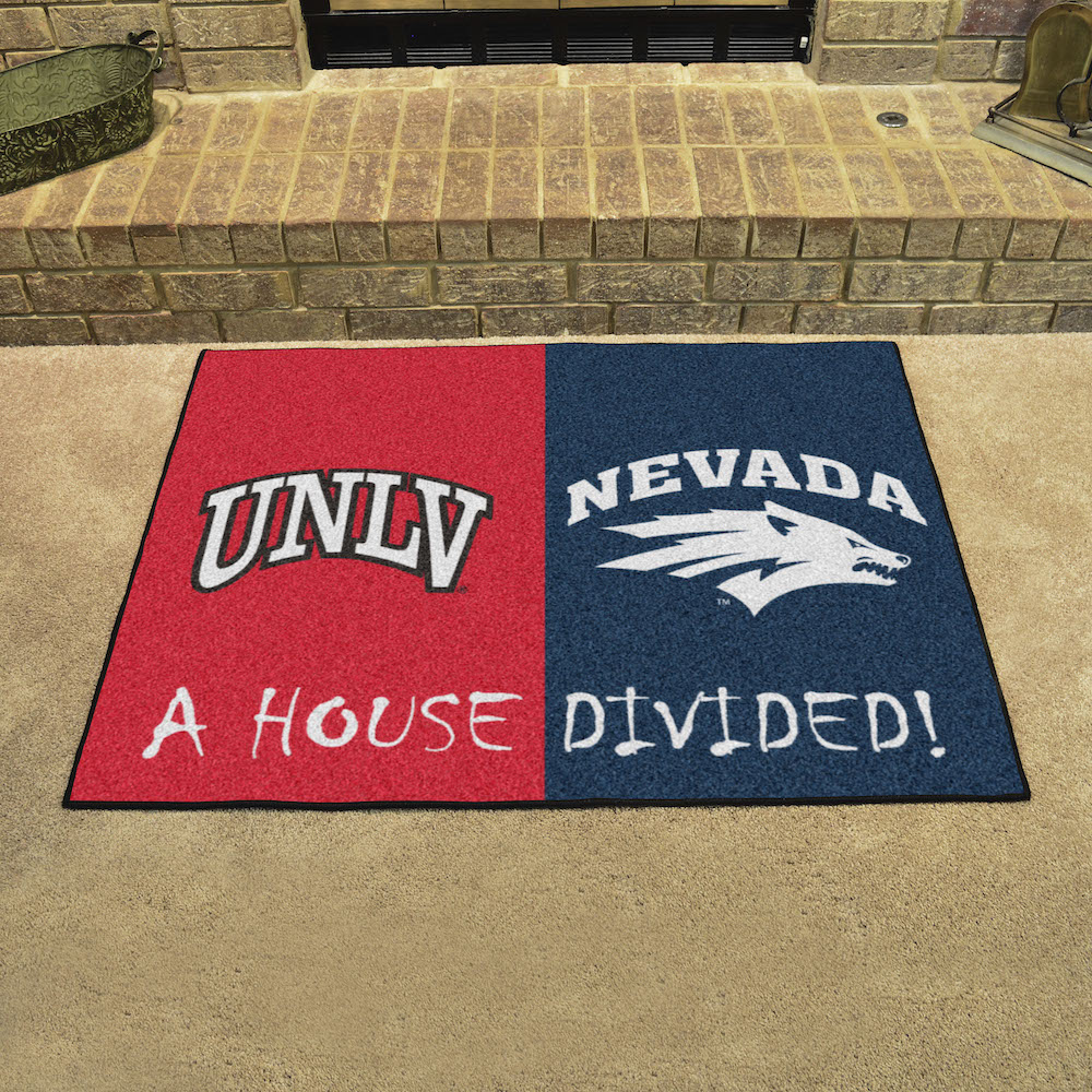 NCAA House Divided Rivalry Rug UNLV Rebels - Nevada Wolfpack