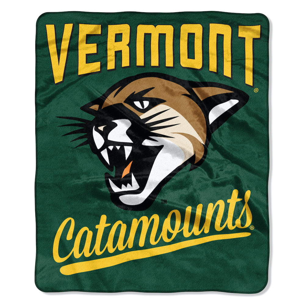 Vermont Catamounts Plush Fleece Raschel Blanket 50 x 60