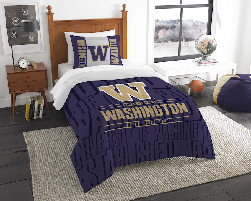 Washington Huskies Twin Comforter Set with Sham