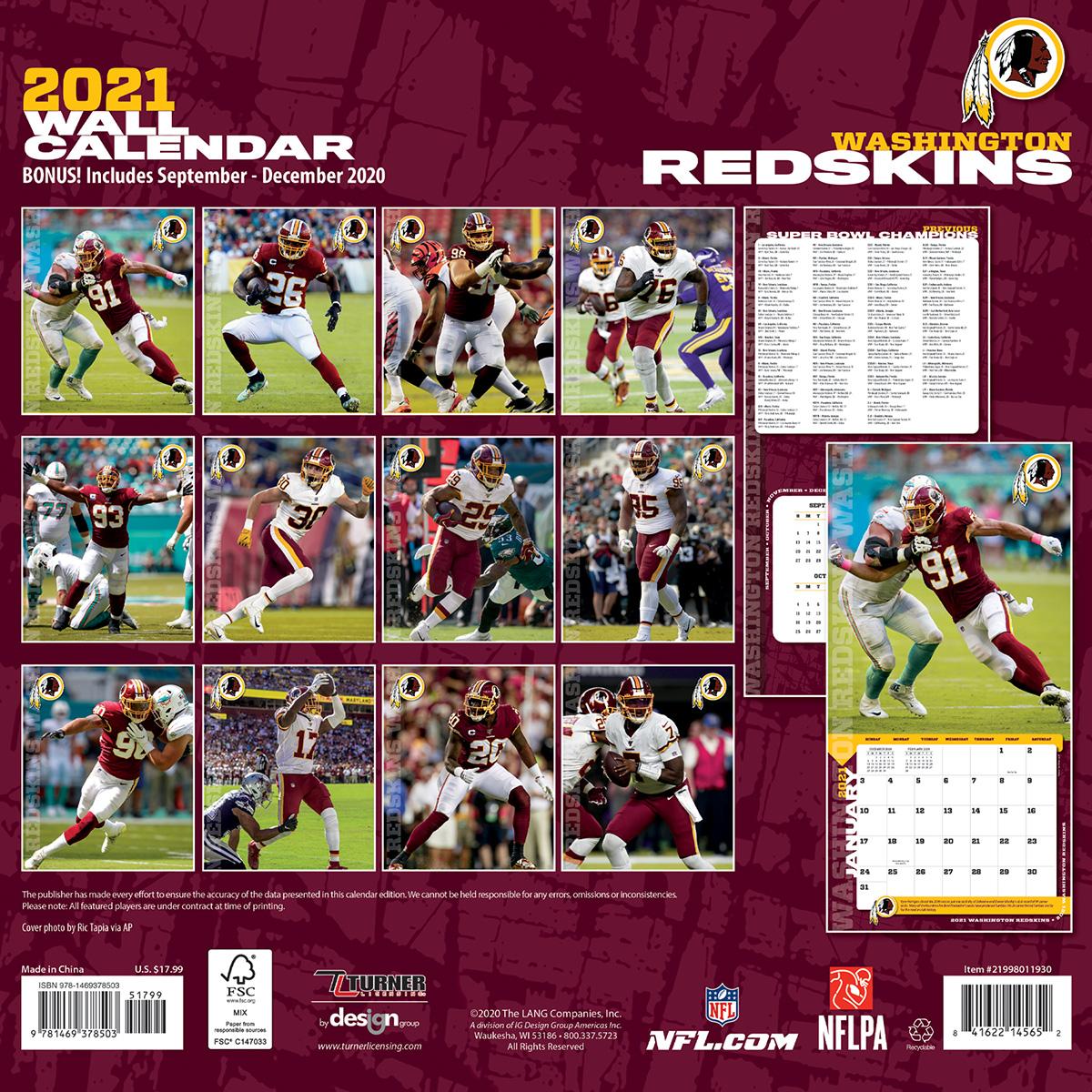 Washington Redskins 2018 Nfl Wall Calendar Buy At Khc Sports