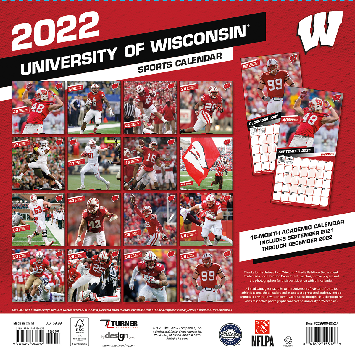 Wisconsin Badgers 2019 Wall Calendar Buy At Khc Sports