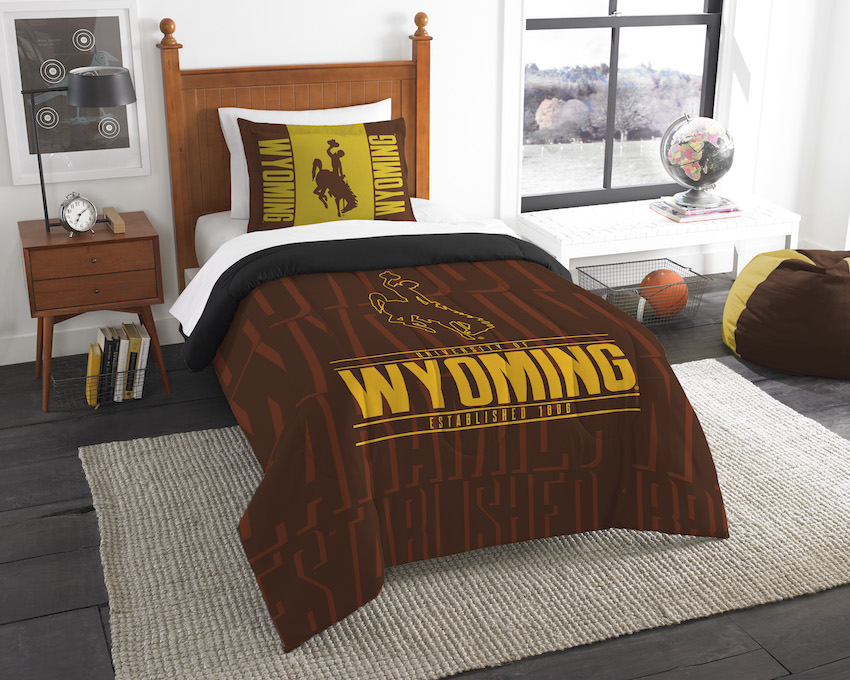 Wyoming Cowboys Twin Comforter Set with Sham