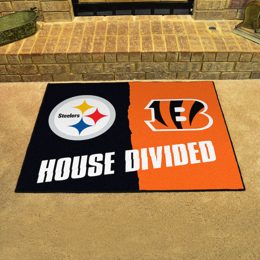 NFL House Divided Rivalry Rug Pittsburgh Steelers - Cincinnati Bengals