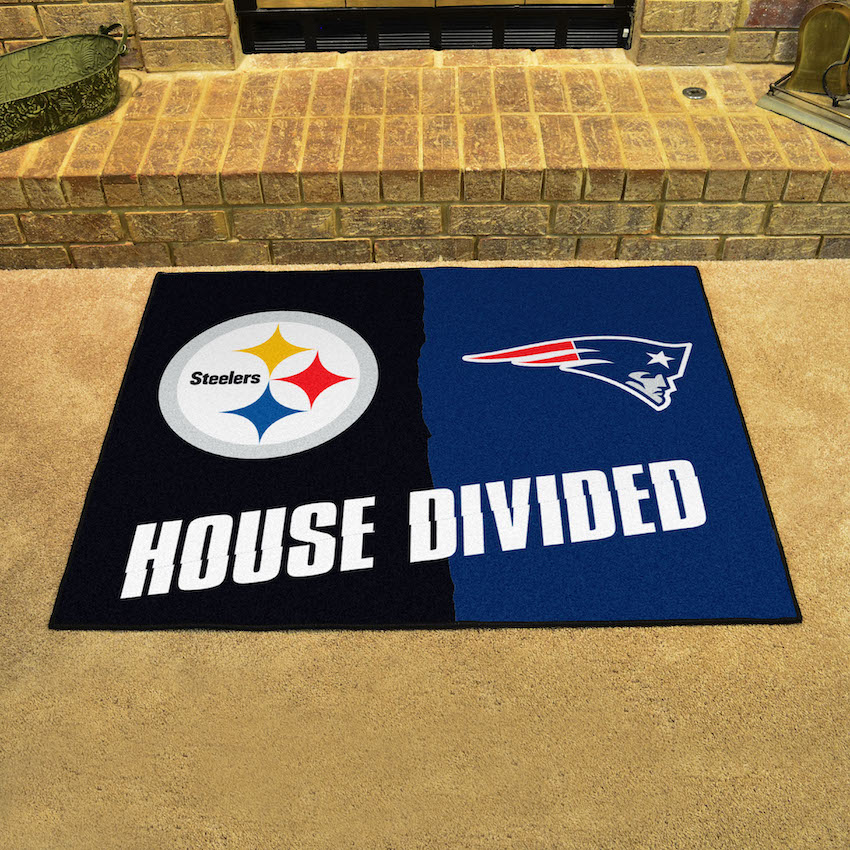 NFL House Divided Rivalry Rug Pittsburgh Steelers - New England Patriots