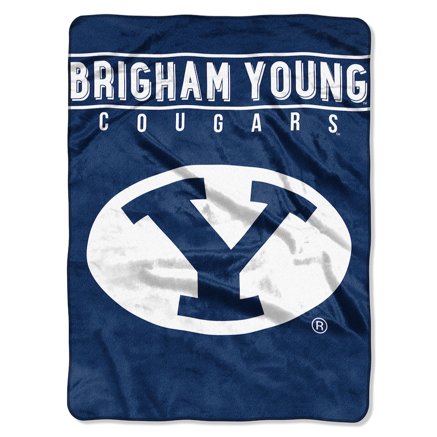 BYU Cougars Large Plush Fleece OVERTIME 60 x 80 Blanket
