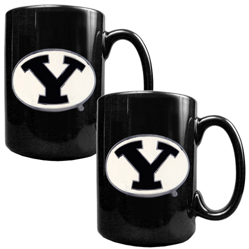 BYU Cougars 2pc Black Ceramic NCAA Coffee Mug Set