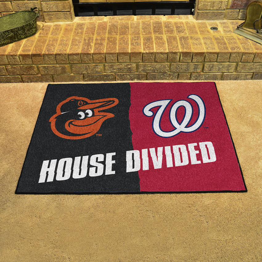 MLB House Divided Rivalry Rug Baltimore Orioles - Washington Nationals