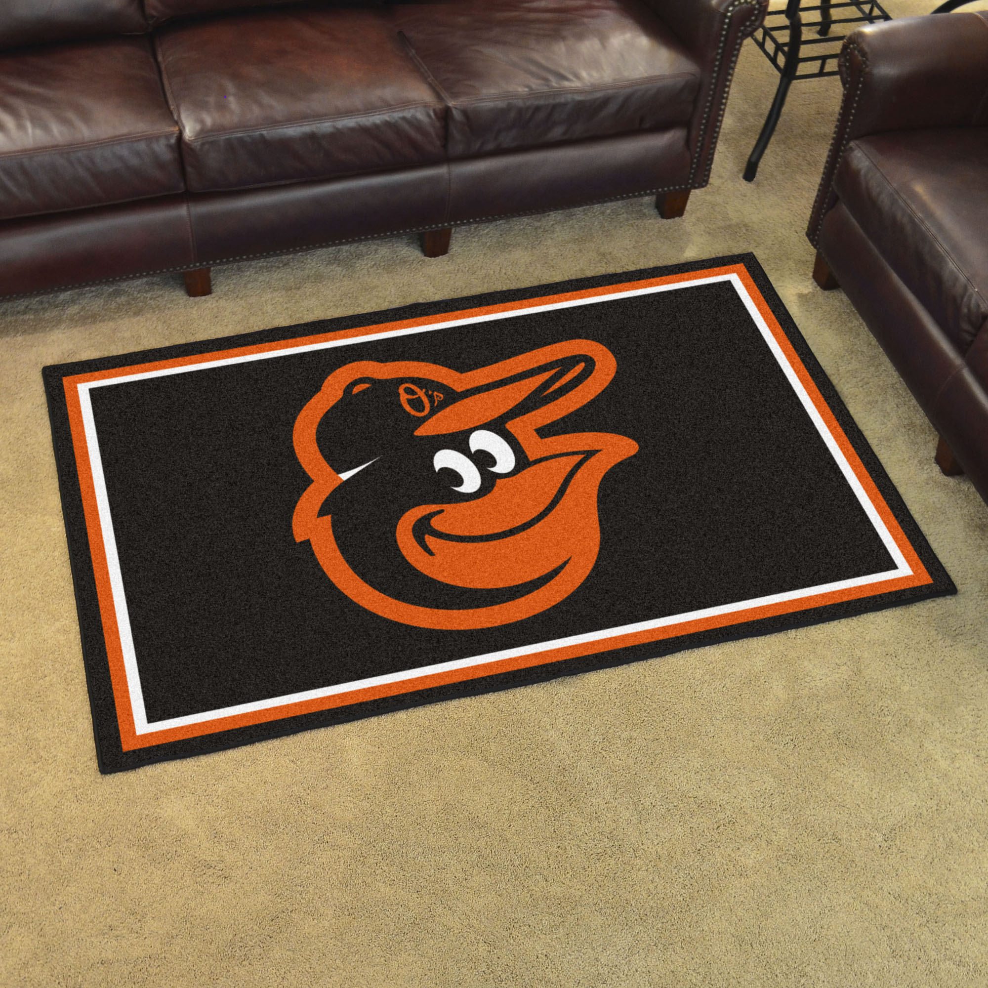 Baltimore Orioles Cartoon Bird 4x6 Area Rug